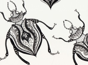 2 floral beetles - original drawing 20x15cm SOLD